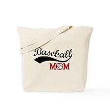 Baseball Mom Red/Black Wave Tote Bag