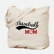 Baseball Mom Red/Black Wave Tote Bag