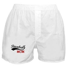 Baseball Mom Red/Black Wave Boxer Shorts