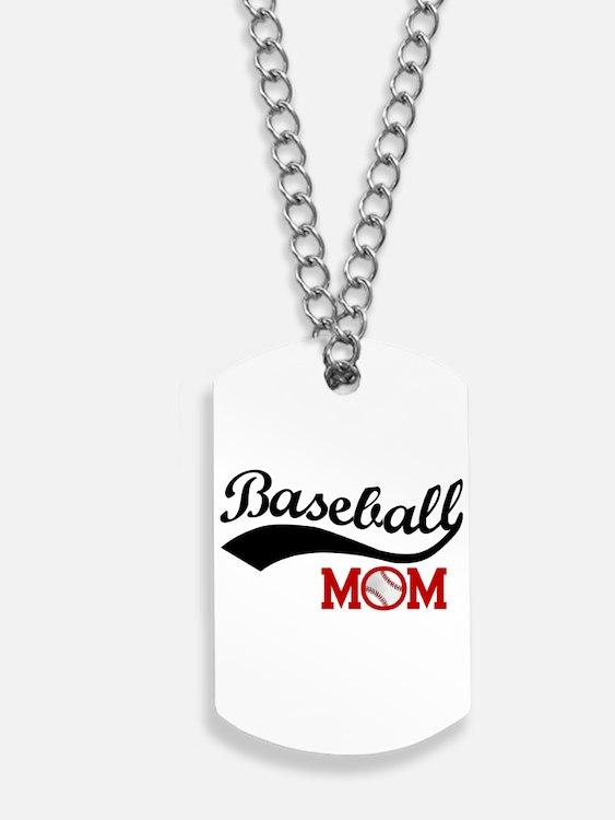 Baseball Mom Red/Black Wave Dog Tags