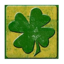 Vintage Grunge Four Leaf Clover Irish Tile Coaster