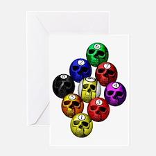 9 ball skull rack Greeting Card