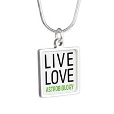 Live Love Astrobiology Silver Square Necklace