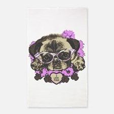 Pug in pink flowers 3'x5' Area Rug