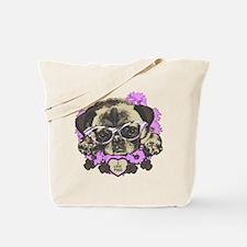 Pug in pink flowers Tote Bag