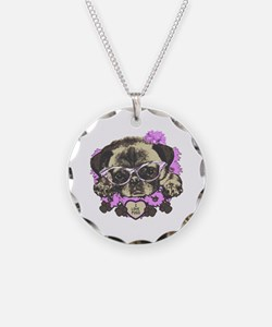 Pug in pink flowers Necklace