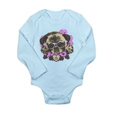 Pug in pink flowers Long Sleeve Infant Bodysuit