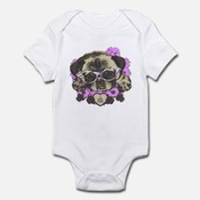 Pug in pink flowers Infant Bodysuit