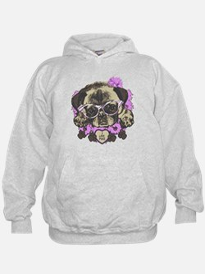 Pug in pink flowers Hoodie