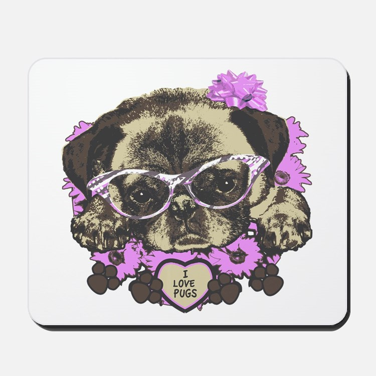 Pug in pink flowers Mousepad