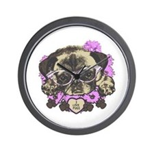 Pug in pink flowers Wall Clock