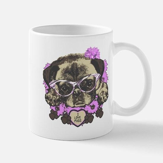 Pug in pink flowers Mug