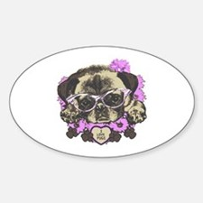 Pug in pink flowers Decal