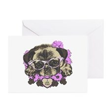 Pug in pink flowers Greeting Cards (Pk of 10)