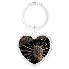 Steam Locomotive Wheel Heart Keychain