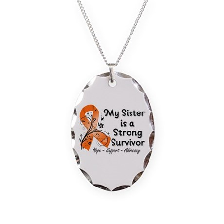 Sister Strong Survivor Necklace Oval Charm