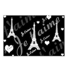 Trendy Black White French I LOVE PARIS Postcards (