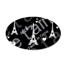 Trendy Black White French I LOVE PARIS Wall Sticke