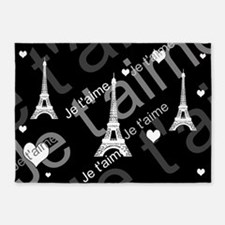 Trendy Black White French I LOVE PARIS 5'x7'Area R