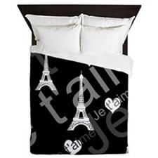 Trendy Black White French I Love Paris Queen Duvet
