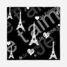 Trendy Black White French I Love Paris Queen Duvet