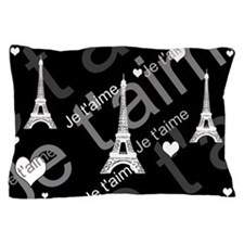 Trendy Black White French I LOVE PARIS Pillow Case