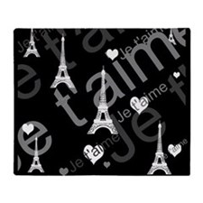 Trendy Black White French I LOVE PARIS Throw Blank