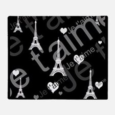 Trendy Black White French I LOVE PARIS Throw Blank