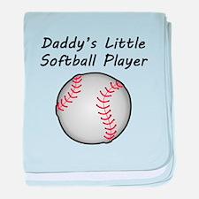 Daddys Little Softball Player baby blanket
