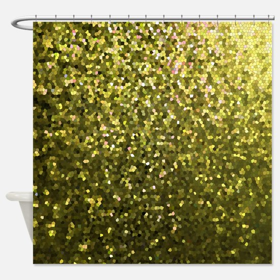 Gold Mosaic Sparkley 1 Shower Curtain