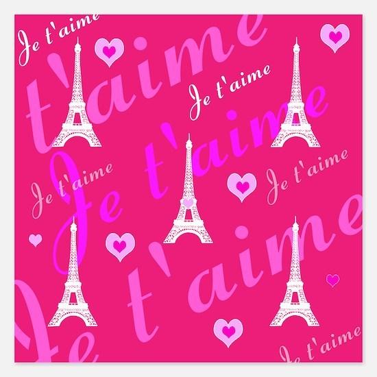 Trendy Pink + White I LOVE PARIS Invitations
