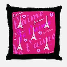 Trendy Pink + White I LOVE PARIS Throw Pillow