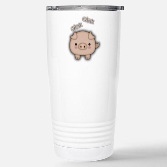 Cute Pink Pig Oink Travel Mug