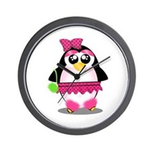 Hot Pink Penguin Wall Clock