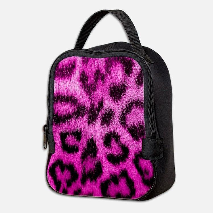 Pink Leopard Print Neoprene Lunch Bag