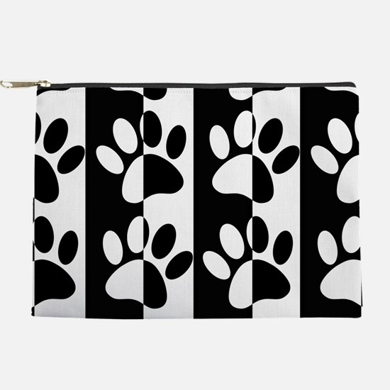 Black And White Dog Paws And Stripes Makeup Pouch