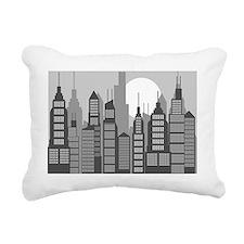 black and gray city buil Rectangular Canvas Pillow