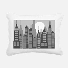 black and gray city buil Rectangular Canvas Pillow