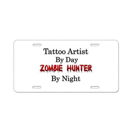 Tattoo artist zombie hunter aluminum license plate by for Tattoo artist license