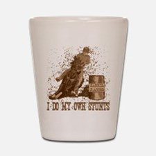 barrel horse racing stunts tee Shot Glass