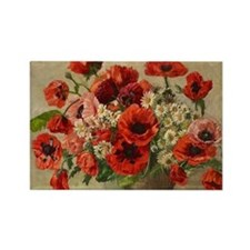 Red Poppy Bouquet Magnets