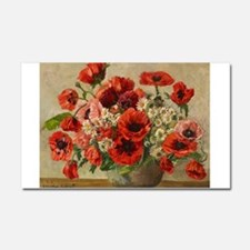 Red Poppy Bouquet Car Magnet 20 x 12