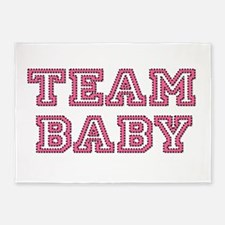 Team Baby in Pink and Black 5'x7'Area Rug
