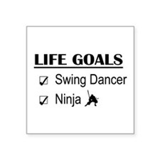 "Swing Dancer Ninja Life Goa Square Sticker 3"" x 3"""