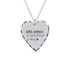 Swing Dancer Ninja Life Goals Necklace Heart Charm