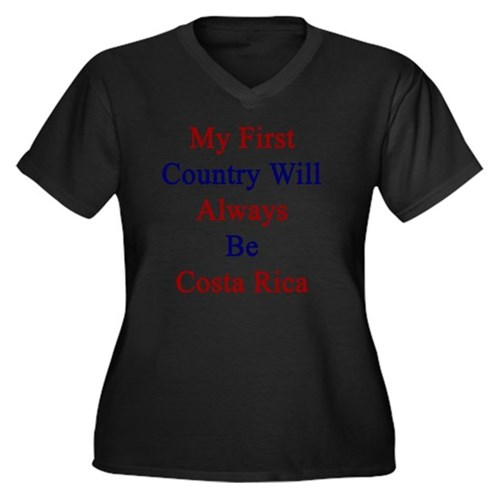 My First Cou Women's Plus Size V-Neck Dark T-Shirt