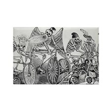 Posada, calaveras, cyclists Rectangle Magnet