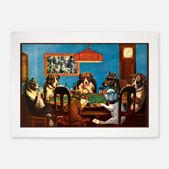 Dog Poker 5'x7'area Rug