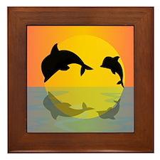 Dolphins at sunset Framed Tile