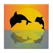 Dolphins at sunset Tile Coaster